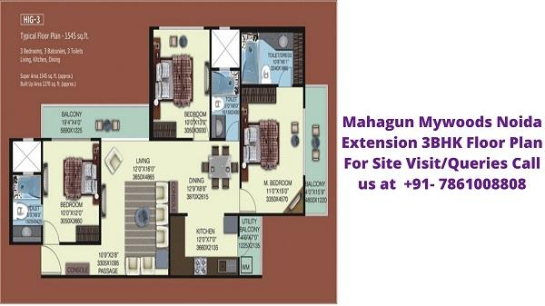 Mahagun Mywoods Noida Extension 3BHK Floor Plan