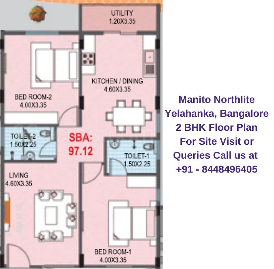 Manito Northlite Yelahanka, Bangalore 2 BHK Floor Plan
