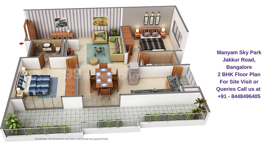 Manyam Sky Park Jakkur Road, Bangalore 2 BHK Floor Plan