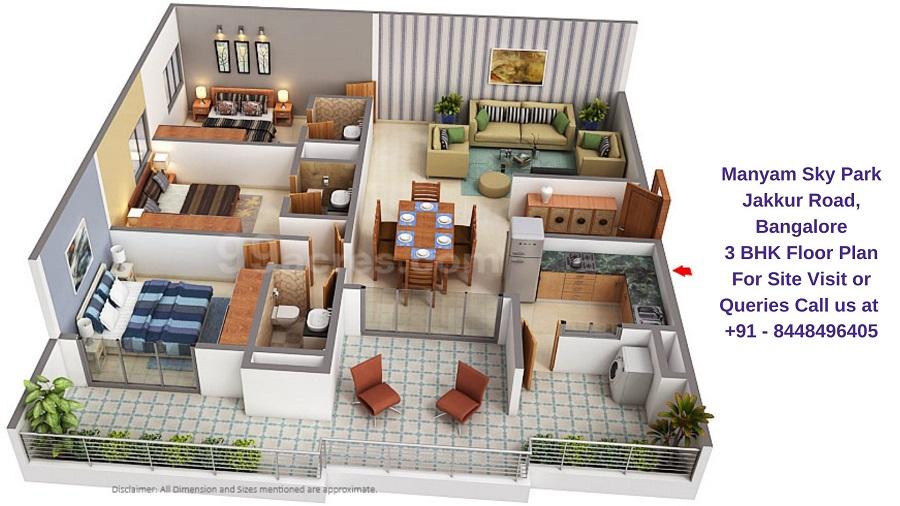 Manyam Sky Park Jakkur Road, Bangalore 3 BHK Floor Plan