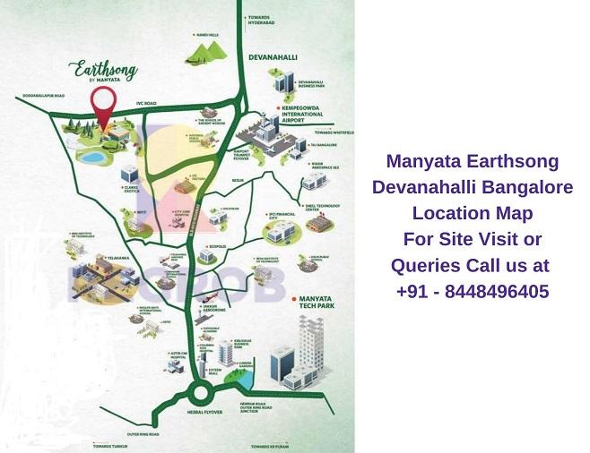 Manyata Earthsong Devanahalli Bangalore Location Map