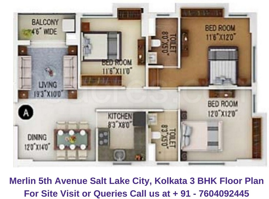 Merlin 5th Avenue Salt Lake City, Kolkata 3 BHK Floor Plan