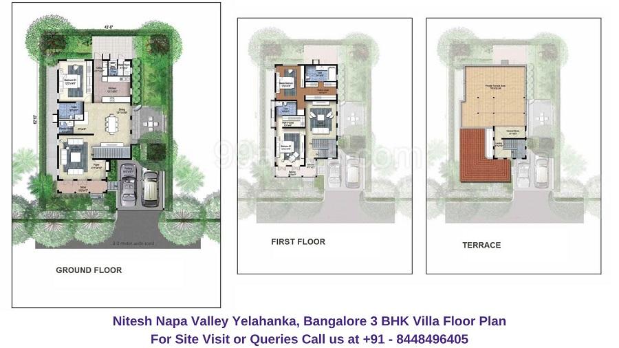 Nitesh Napa Valley Yelahanka, Bangalore 3 BHK Villa Floor Plan