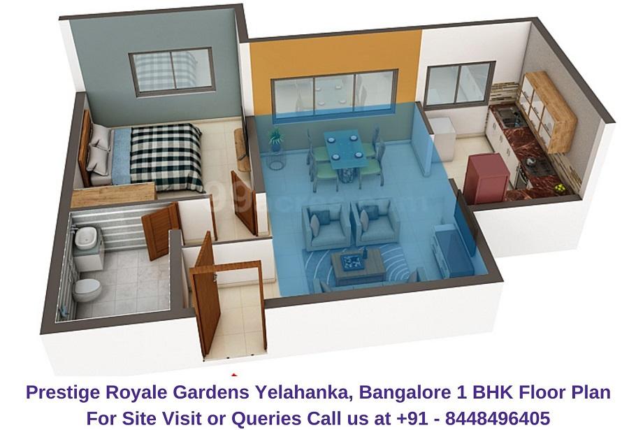 Prestige Royale Gardens Yelahanka, Bangalore 1 BHK Floor Plan