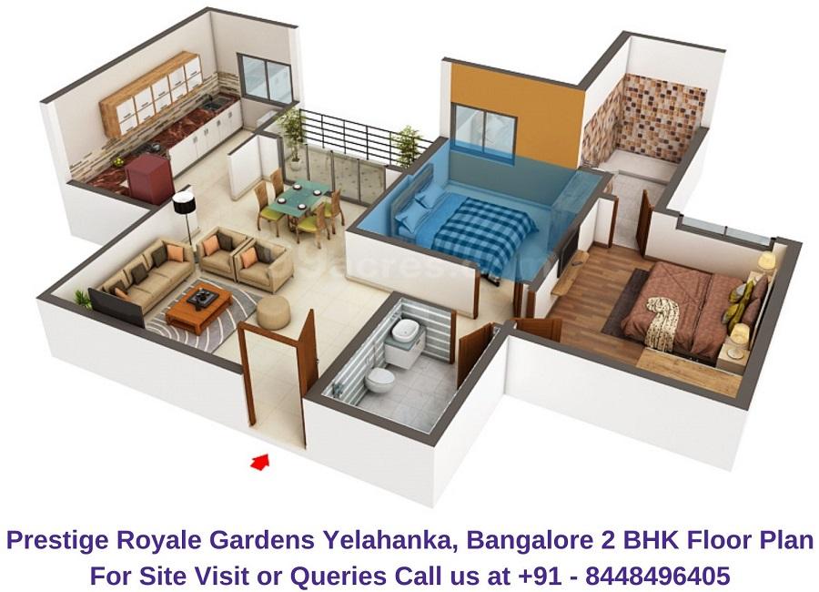 Prestige Royale Gardens Yelahanka, Bangalore 2 BHK Floor Plan