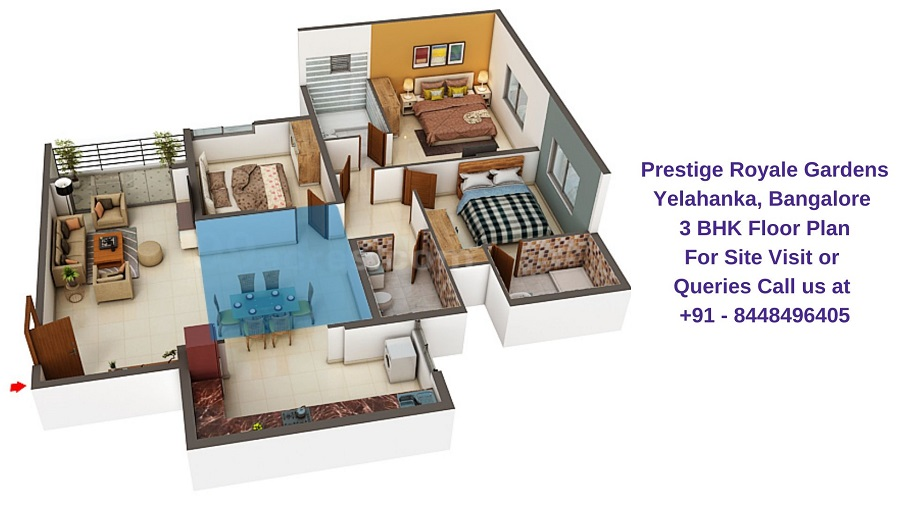 Prestige Royale Gardens Yelahanka, Bangalore 3 BHK Floor Plan