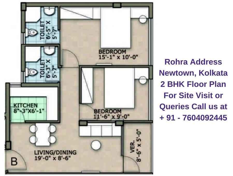 Rohra Address Newtown Kolkata 2 BHK Floor Plan