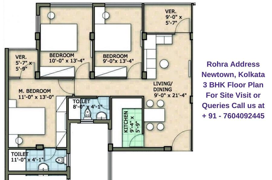 Rohra Address Newtown Kolkata 3 BHK Floor Plan