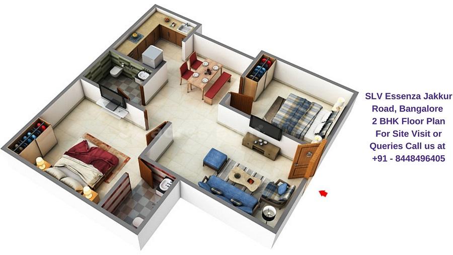 SLV Essenza Jakkur Road, Bangalore 2 BHK Floor Plan