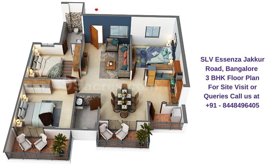 SLV Essenza Jakkur Road, Bangalore 3 BHK Floor Plan