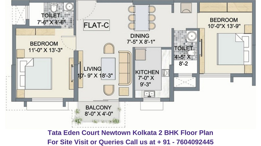 Tata Eden Court Newtown Kolkata 2 BHK Floor Plan