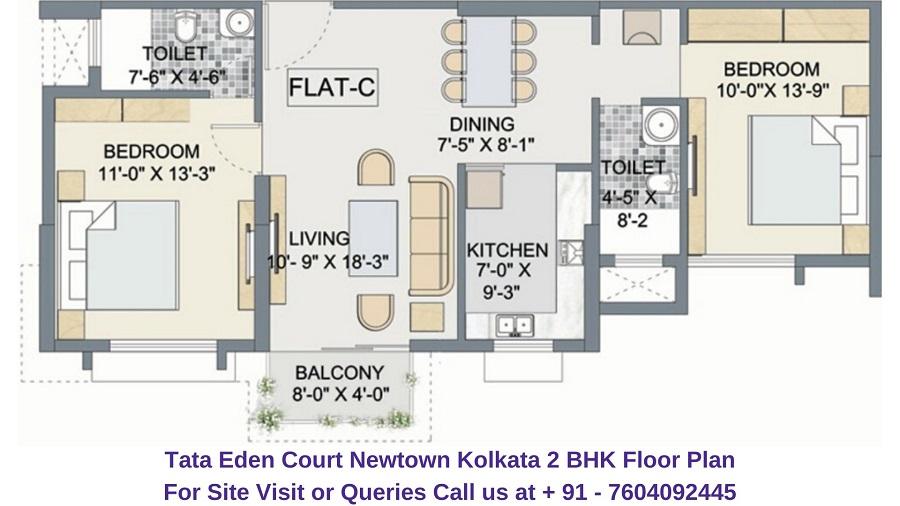 Tata Eden Court Newtown Kolkata 2 BHK Floor Plan