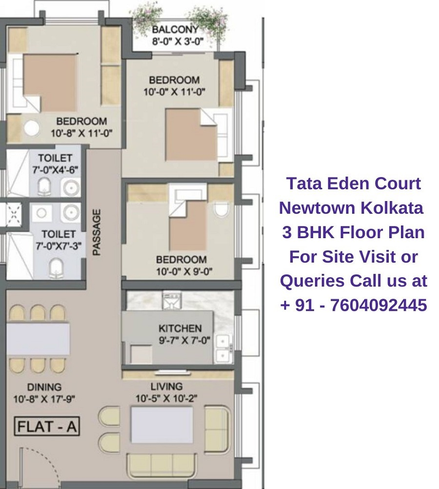 Tata Eden Court Newtown Kolkata 3 BHK Floor Plan (2)