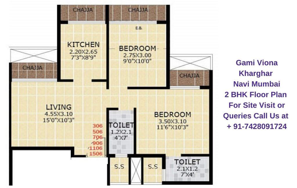 Gami Viona Kharghar Navi Mumbai 2 BHK Floor Plan