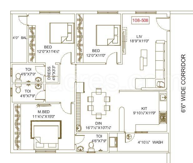 Bandi's Capital Gateway Gollapudi Vijayawada 3bhk Floor Plan