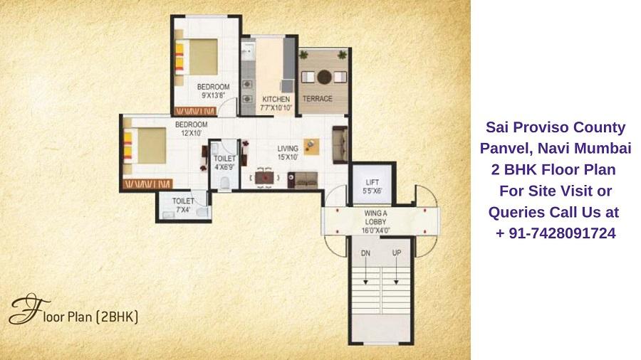 Sai Proviso County Panvel Navi Mumbai 2 BHK Floor Plan
