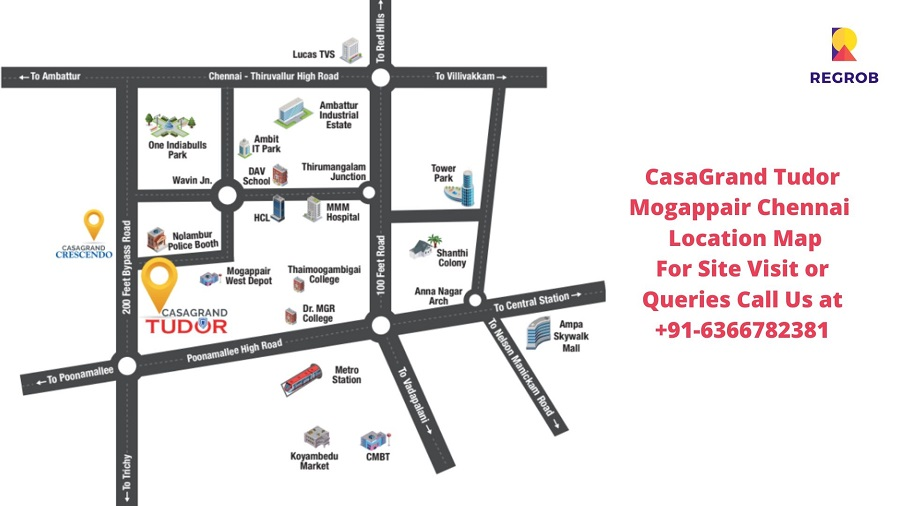 CasaGrand Tudor Mogappair Chennai Location Map
