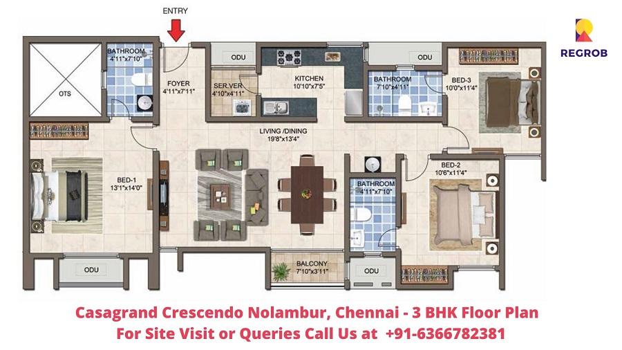 3 BHK Floor Plan