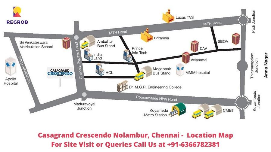 Casagrand Crescendo Nolambur Chennai Location Map