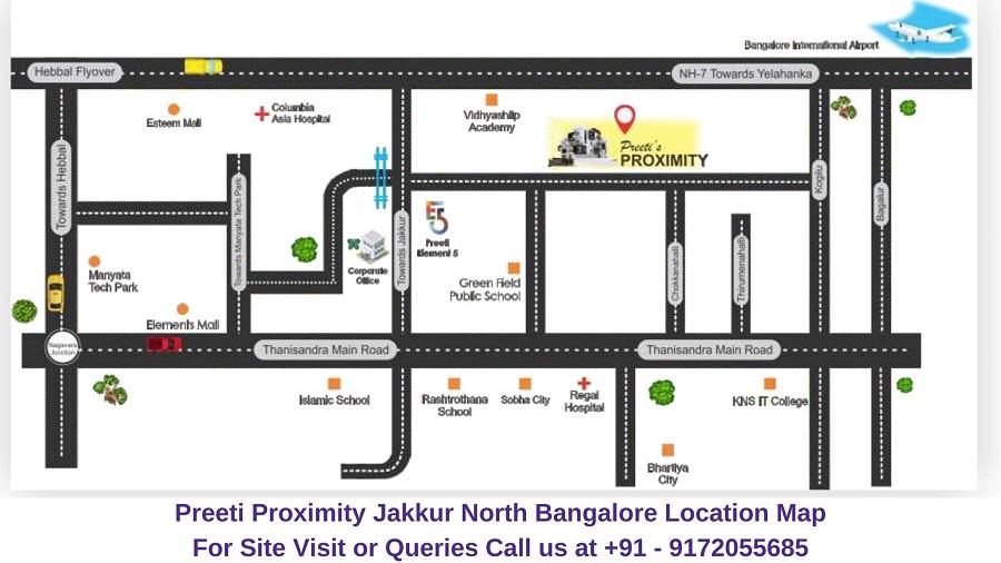 Preeti Proximity Jakkur North Bangalore Location Map