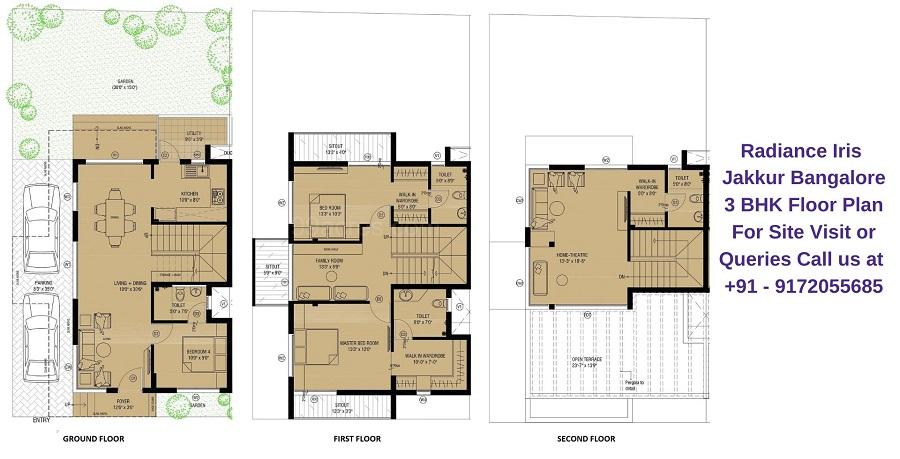 3 BHK Villa Floor Plan
