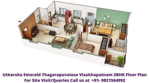 Utkarsha Emerald Vizag 2BHK Floor Plan