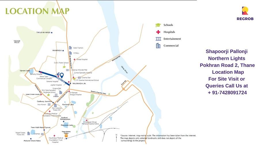 Shapoorji Pallonji Northern Lights Pokhran Road 2, Thane Location Map