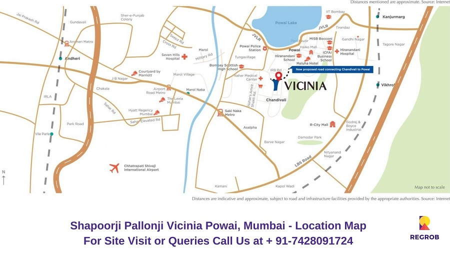Shapoorji Pallonji Vicinia Powai, Mumbai Location Map