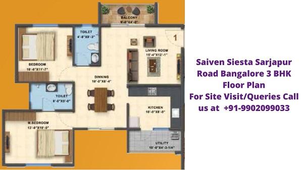 Saiven Siesta Bangalore 2 BHK Floor Plan