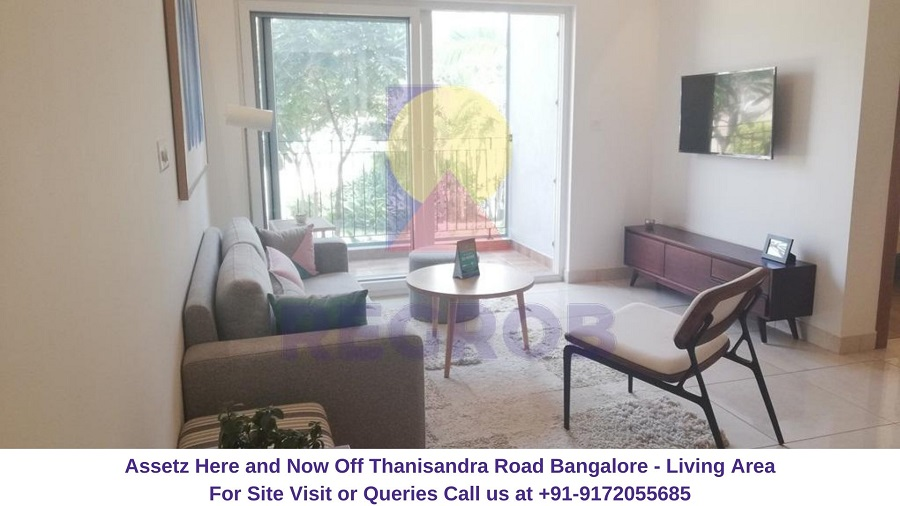 Assetz Here and Now Off Thanisandra Road Bangalore Living Area