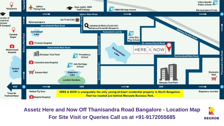 Assetz Here and Now Off Thanisandra Road Bangalore Location Map