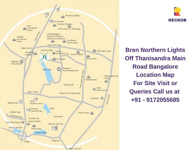 Bren Northern Lights Off Thanisandra Main Road Bangalore Location Map