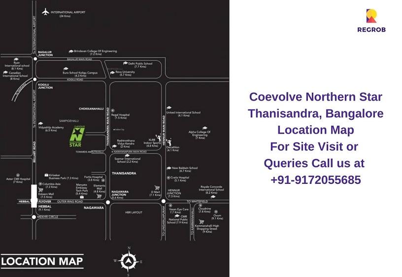 Coevolve Northern Star Thanisandra, Bangalore Location Map
