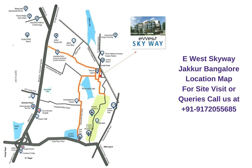E West Skyway Jakkur Bangalore Location Map