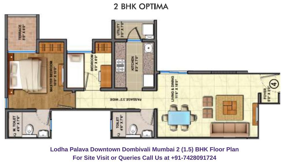 1.5 BHK Floor Plan