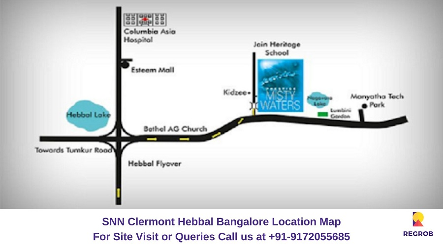 Prestige Misty Waters Hebbal North Bangalore Location Map