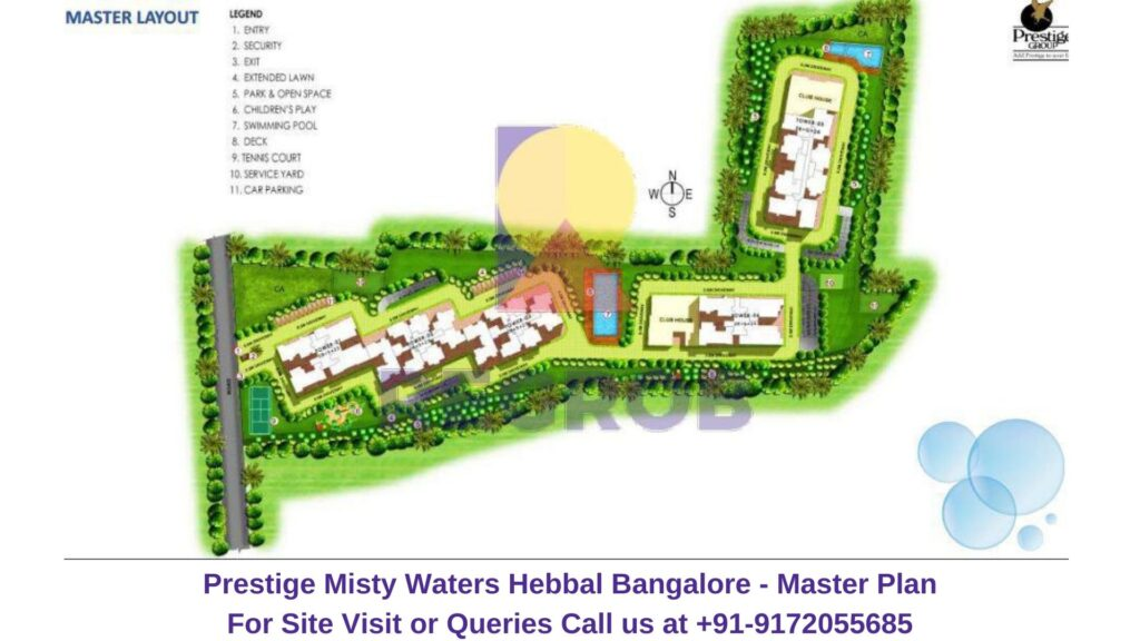 Prestige Misty Waters Hebbal North Bangalore Master Plan