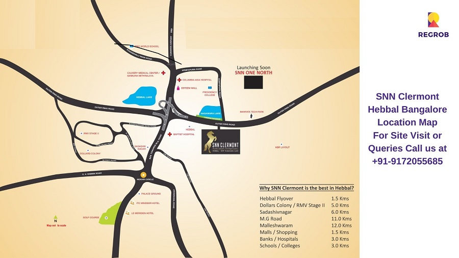 SNN Clermont Hebbal Bangalore Location Map