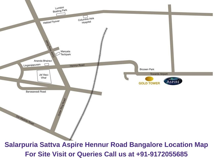 Salarpuria Sattva Aspire Hennur Road Bangalore Location Map