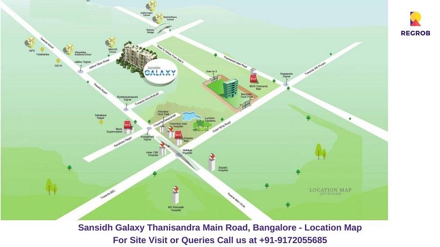 Sansidh Galaxy Thanisandra Main Road, Bangalore Location Map