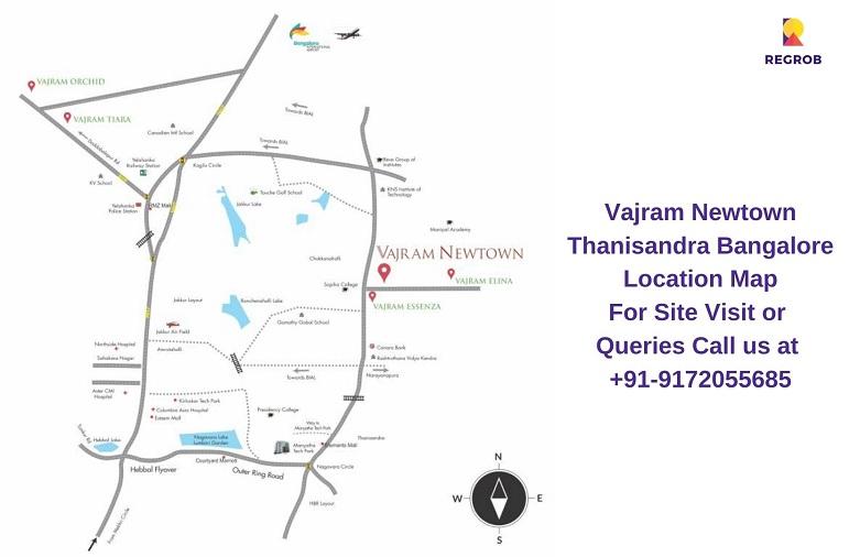 Vajram Newtown Thanisandra Bangalore Location Map