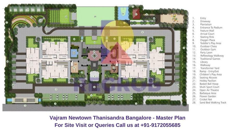 Vajram Newtown Thanisandra Bangalore Master Plan
