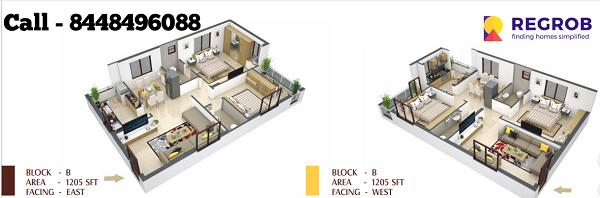 Northface Grandeur 2 BHK Floor Plan