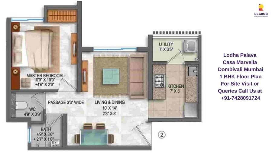 1 BHK Floor Plan