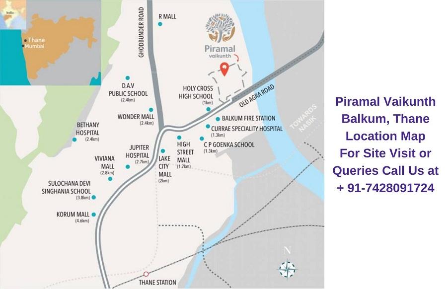 Piramal Vaikunth Balkum, Thane Location Map
