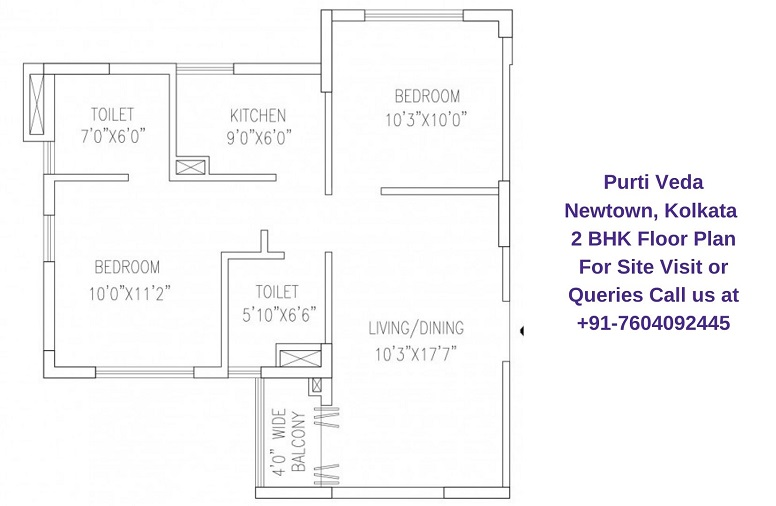 2 BHK Floor Plan 895 Sqft