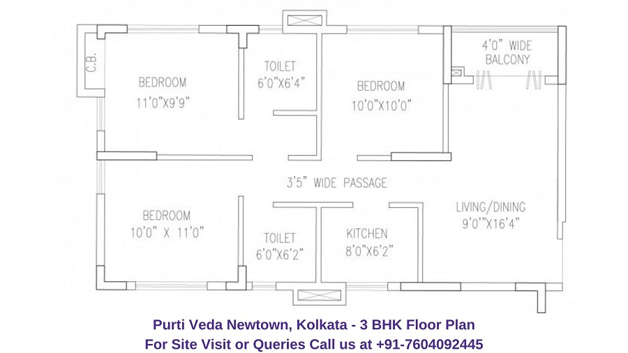 3 BHK Floor Plan 1128 Sqft
