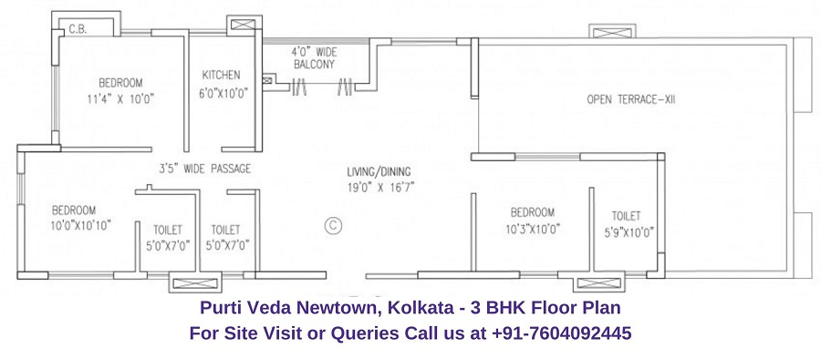 3 BHK Floor Plan 1747 Sqft