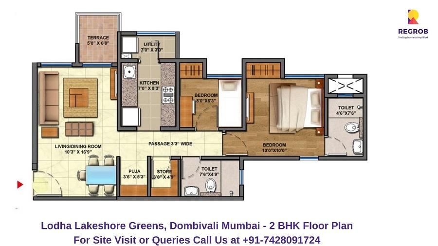 2 BHK 645 Sqft Floor Plan