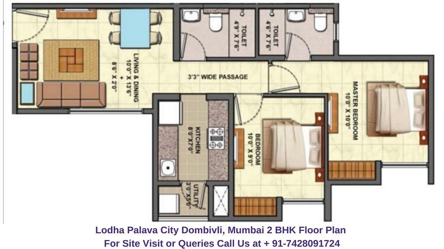 2 BHK Floor Plan 736 Sqft